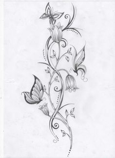 Closed flower and butterfly tattoo