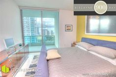2 bedroom unit on the 25th floor of 900 Biscayne Bay in Downtown Miami: Bedroom