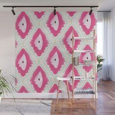 Buy Pink Boho Style ikat pattern Wall Mural by allyjcat. Worldwide shipping available at Society6.com. Just one of millions of high quality products available.