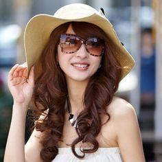 Women bow straw sun hat for summer wear wide brim