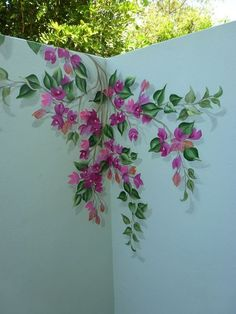 Perfect eyecatching DIY artistic decoration ideas for outdoor areas - Bugambilias para mamá - Mural Floral, Flower Mural, Wall Painting Decor, Wall Decor, Fence Painting, House Painting, Art Mural, Wall Murals, Garden Fence Art