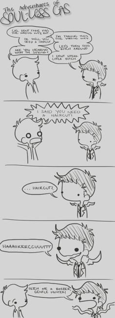 "Soul-less Cas cartoons by musicalirony from Deviantart ""I don't speak little bitch"" XD ^brilliant Supernatural Drawings, Supernatural Ships, Avatar, Dean And Castiel, Super Natural, Destiel, Superwholock, Paranormal, Nerdy"