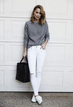 30 façons de porter le jean blanc repérées sur Pinterest | Glamour