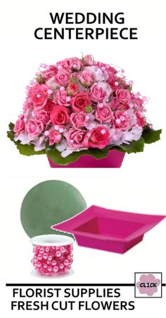 Wedding Flower Centerpieces - Pink Sweetheart Roses  Easy to make with a stunning look.  Check out product list needed to make this floral design