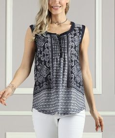 Another great find on #zulily! Navy Arabesque Button-Up Henley - Women & Plus #zulilyfinds