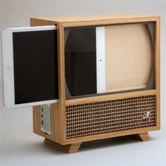 What you really nead is an iPad mini stand that looks like an old TV http://amzn.to/2rsjy6P