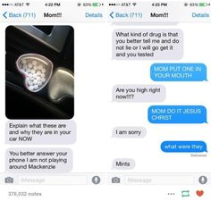29 Text Messages That Are Funny Every Single Time This hyper-caring mother. 29 Text Messages That Are Funny Every Single Time - Funny Texts Jokes, Text Jokes, Stupid Funny Memes, Haha Funny, Funny Posts, Funny Quotes, Epic Texts, Funny Texts To Parents, Funny Stuff