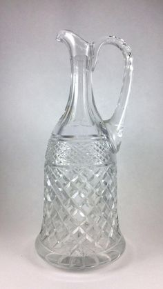 Genuine Hand Cut Lead Crystal Wine Bottle Decanter made in Poland 11 inch, Vintage Glass, Vintage Dining, Vintage Kitchen, Wine Bottle Crystal Decanter, Wine Decanter, Vintage Dishes, Vintage Items, Antique Glassware, Carnival Glass, Glass Collection, Trinket Boxes, Clear Glass