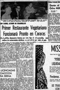 Primer restaurante vegetariano de Caracas. Publicado en 1960.