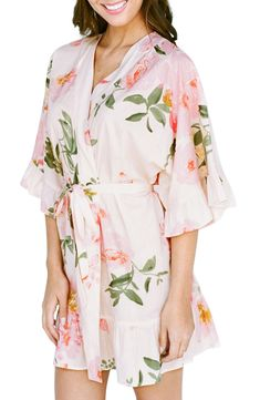 Women's Plum Pretty Sugar Flutter Floral Robe, Size X-Small/Small - Pink Chiffon Evening Dresses, Chiffon Gown, Patent Leather Leggings, Thermal Pajamas, Plum Pretty Sugar, Lace Camisole, Faux Fur Collar, Nordstrom, Pure Products