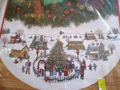 Christmas Holiday Counted Cross Stitch Tree Skirt KITTHE VILLAGEAvery45