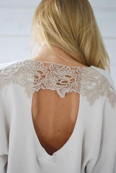 Lace shoulders + open back - DIY idea