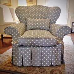 Funky shaped chair with custom slipcover in gray & white polka dots