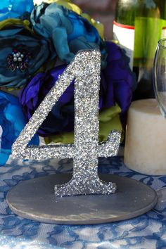 Glitter Wedding Table Numbers Gold or Silver 110 by RuffledBlooms, $85.00