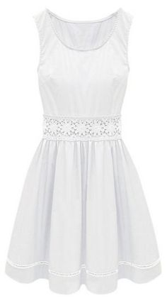 White Sleeveless Crochet Lace Embellished Waist Skater Dress - Sheinside.com Mobile Site