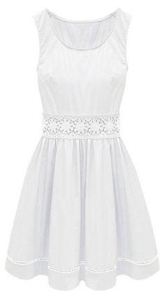 White Sleeveless Crochet Lace Embellished Waist Skater Dress - Sheinside.com Mobile Site