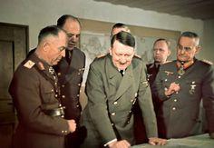 Hitler on February 11, 1942 at the Wolfsschanze with  Antonescu, his interpreter Paul Schmidt, Keitel (obscured), Christian, and Franz Halder.