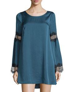 Catarina+Lace-Panel+Long-Sleeve+Dress,+Deep+Sea+by+Tularosa+at+Neiman+Marcus+Last+Call.