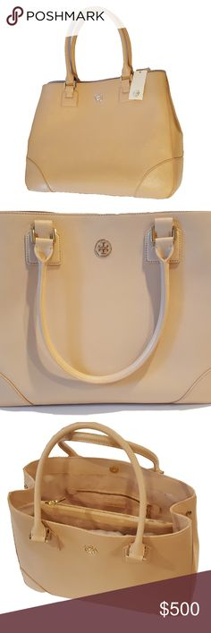 """Tory Burch Robinson Large Dark Sahara Tote NWT NWT Tory Burch Robinson East West large saffiano leather tote bag Dual rolled leather handles approx. 8"""" drop Magnetic snap top closure, exterior side snaps to expand bag Color: Dark Sahara (pale pink), matching logo jacquard lining, gold tone hardware  Gold tone Tory Burch logo on front exterior Large zippered compartment dividing spacious interior, 2 open, 1 zippered and 1 pocket with snap closure, leather zipper pulls Metal protective feet…"""