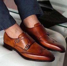 Men,s Handmade Brown Formal Monk Shoes, Men Brown Dress Shoes, Men Leather Shoes - Dress/Formal