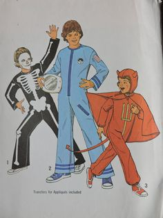 Astronaut Devil Skeleton Costume Halloween Stage Play Costumes Vintage Factory Folded Simplicity 6696 UNCUT Sewing Pattern Child Sizes 4 - 6