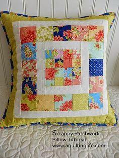 Scrappy Patchwork Pillow Tutorial (via Bloglovin.com )