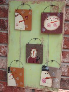 primitive snowman ornaments | Set of Five Primitive Snowmen Ornaments by SassySouthernCharm