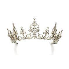 Diamond tiara. Circa 1900s  Via Sothebys. - for when they finally tell me I'm a princess of some land never heard of lol! #fitness_fashion_diamonds