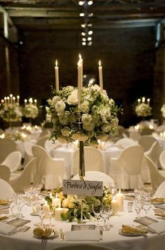 White And Green Candelabra Arrangement Destinationwedding Italy Fl Centerpieces Centrepieces