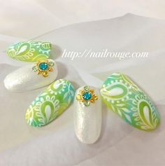 新緑のような爽やかマーブルに上品ペイズリーの画像 | ネイルルージュの店長ブログ