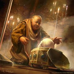 Maester Caleotte for Game of Thrones TCG by 1oshuart (The Maester opening the box with The Mountain's skull)