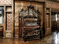 Grand Ballroom Organ - ©Winchester Mystery House  This woman thought spirits would take her if she stopped building her home, so she built on it for 38 years.