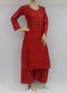 ISHIEQA's Red Chikankari Chanderi Kurti and Bottom Set- RC0403D Cotton Anarkali, Anarkali Kurti, Green Cotton, Black Cotton, Angrakha Style, A Line Kurti, Working Blue, Indian Suits, Kurtis