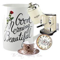 Designer Clothes, Shoes & Bags for Women Morning Coffee, Good Things, Mugs, Tableware, Polyvore, Design, Dinnerware, Tumblers, Tablewares