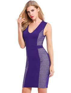 Purple Sleeveless Net Patchwork V Neck Pullover Bodycon Dress