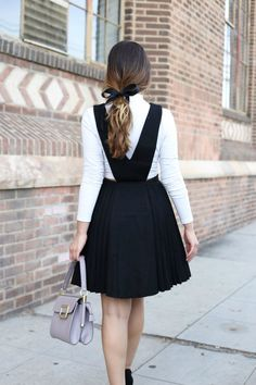 Stiletto Beats, ootd, outfit, pinafore, pinafore dress, jumper, overall dress, turtleneck, school girl, ribbon in hair