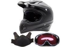 Adult Snocross Snowmobile Helmet & Goggle Combo - Matte Black , Carbon Fiber Print