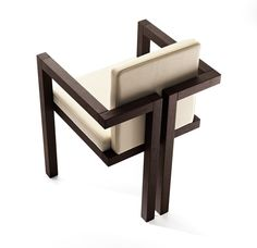 Design of wooden chair with armrests, design by Alberto Collovati. A chair of intense and habitual character, which is reinforced by the . Iron Furniture, Steel Furniture, Unique Furniture, Wooden Furniture, Industrial Furniture, Home Furniture, Furniture Design, Wooden Chairs, Furniture Cleaning