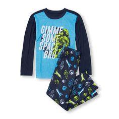Boys Long Sleeve 'Gimme Me Some Space Bro' Top And Space Print Pants PJ Set