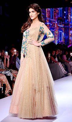 Radha's (Indian Ethnicity): Hot designer beige color salwar suit heavy embroid...