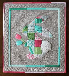 Patchwork Peter Rabbit @ The Crafty Quilter. A great mini charm square project! Small Quilts, Mini Quilts, Baby Quilts, Quilting Projects, Sewing Projects, Quilting Tips, Blog Art, Quilt Labels, Miniature Quilts