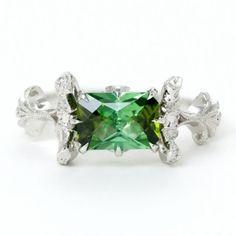 Green tourmaline Diamond Ring Product Image