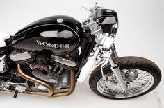 """Wonder Cafe Racer"" Harley-Davidson XLH Sportster by Wonder Bikes | Suppertrapp exhaust | 19"" front and 18"" rear wheel | Joker Machine air filter | USA"