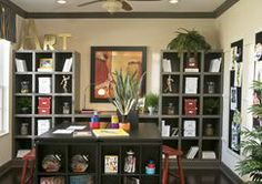 This seldom-used formal living area was creatively transformed into the owners personal arts-and-crafts area