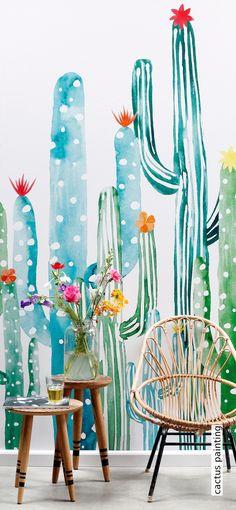 Farbe für den November! Tapete: cactus painting - Die TapetenAgentur #cactus #tapeten