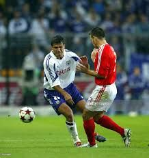 Anderlecht's Nenad Jestrovic and Benfica's Argelico Fuks (Argel) fight for the ball during the UEFA champions league qualification match between Anderlecht and Benfica, 24 August 2004 at the Constant Vandenstock stadium in Brussels.
