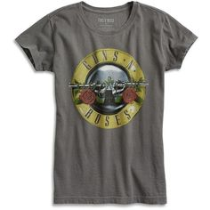 Lucky Brand Guns & Roses Bullet Seal Tee ($40) ❤ liked on Polyvore featuring tops, t-shirts, black mountain, lucky brand t shirts, lucky brand tops, rosette top, rose t shirt and rose tops