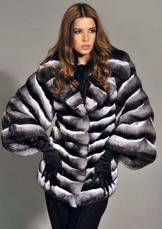 Black Velvet Chinchilla Fur Jacket