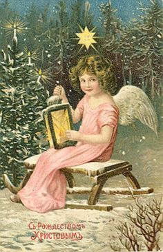 antique vintage post card christmas printable picture decor angel