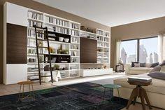 modern living room shelving ideas: white bookshelves model by Napol